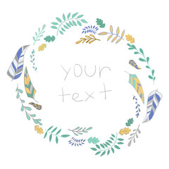Frame leaves with text vector illustration