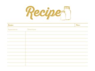 Golden colored recipe card with mason jar. Template. Vector design.
