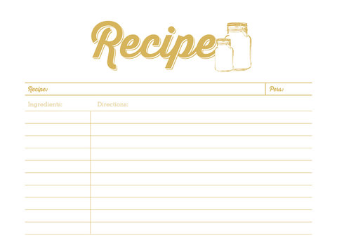 Golden colored recipe card with mason jar. Template. Vector design.