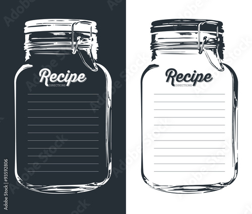 Mason jar with hook recipe card and lines template vector design mason jar with hook recipe card and lines template vector design forumfinder Gallery