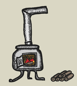 doodle stove and firewood, color