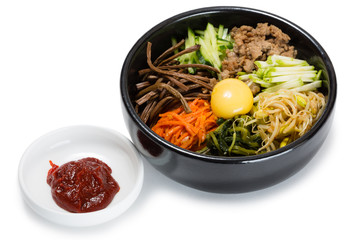 Bibimbap dish of meat, rice, vegetables and egg