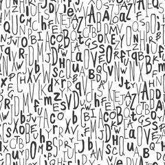 Hand-drawn Alphabet Seamless Pattern