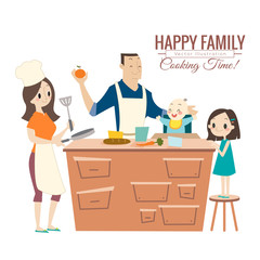 happy family with parents and children cooking in kitchen