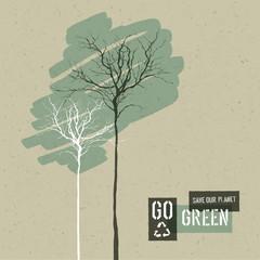 Save Nature Concept Illustration. Trees on Cardboard Realistic B