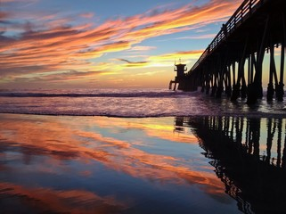 Colorful Sunset at the Imperial Beach Pier, San Diego, California, USA