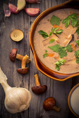 Country dinner Mushroom soup wooden table