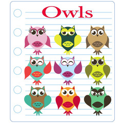 owl on a sheet of notebook striped vector