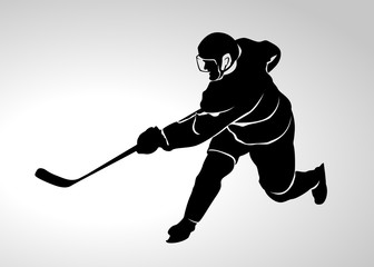 Vector silhouette of a hockey player