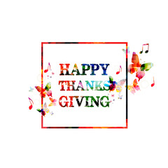 Colorful Happy Thanksgiving inscription
