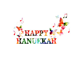 Colorful Happy Hanukkah inscription