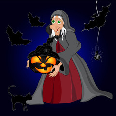 Halloween night background with witch and pumpkins. Halloween banner. Vector illustration