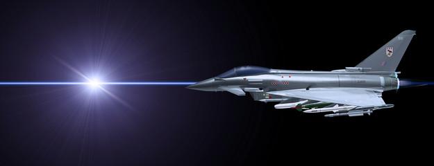 Kampfjet mit Laserstrahl
