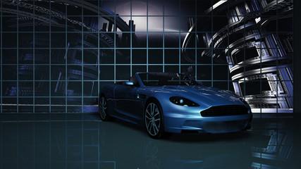 Sportwagen im Studio vor einer Videowand