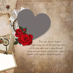 Photo frame heart-shaped, rose, old documents on a vintage background