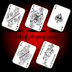 Set of playing cards on a red background
