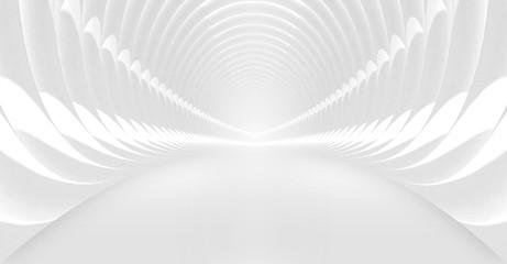 Sshining white tunnel interior. 3d illustration