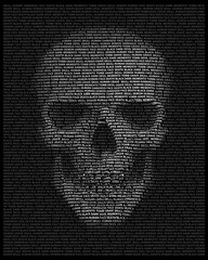 Human skull in typography. Skull made up of words: death, face