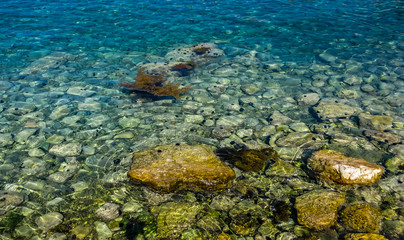 Closeup view on stone and sea