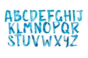 Watercolor aquarelle font type handwritten hand drawn doodle abc
