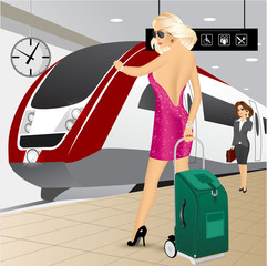 woman standing with a trolley suitcase