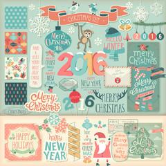 Wall Mural - Christmas scrapbook set - decorative elements.