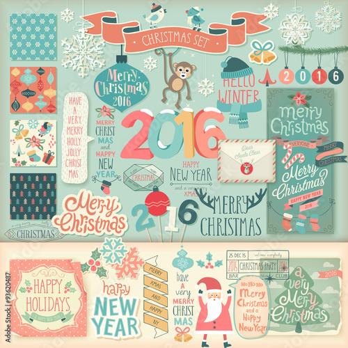 Wall mural Christmas scrapbook set - decorative elements.