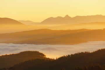 mountains with fog at sunrise