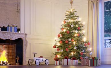 weihnachtsbaum mit geschenken im Wohnzimmer - christma tree with gifts on the floor