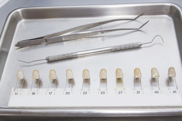 closeup of teeth shades and other dental tool