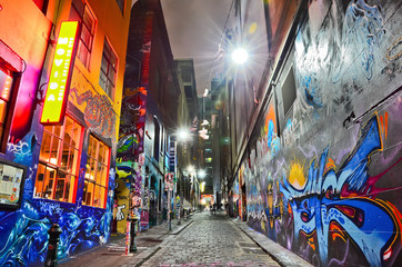 Foto auf AluDibond Graffiti View of colorful graffiti artwork at Hosier Lane in Melbourne