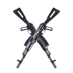 Assault rifle crossing silhouettes over white, vector illustration