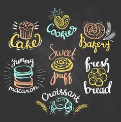 Set of labels, logos for restaurant menu on the chalkboard.