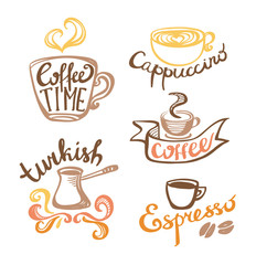 Coffee hand drawn Labels. Logo template collection. Vector icons.