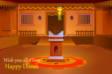 Indian house decorated with diya in Diwali night