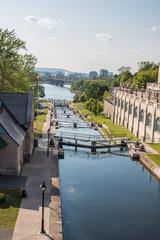 Rideau Canal (Canal Rideau) Locks in summer on Parliament Hill Ottawa Ontario Canada