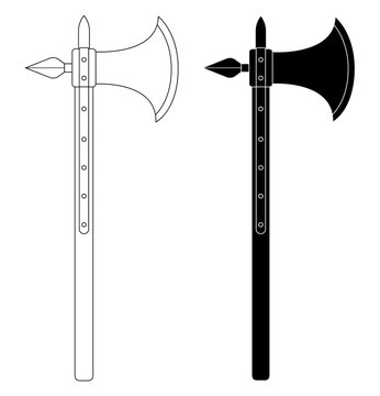 Medieval battle ax. Contour. Black