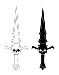 Ritual dagger. Sharp blade with skull. Contour