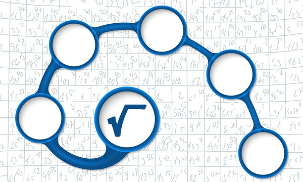 Blue circular text boxes for your text and square root symbol
