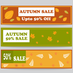 Autumn sale banner background for web or print