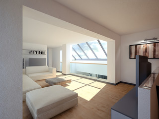 3D visualization of a living room on the second floor with a sloping window