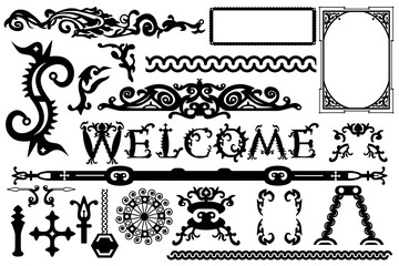 Detailed vintage vector elements in a gothic Halloween style: font, frames, swirls, ornaments, parts etc. Vector illustration