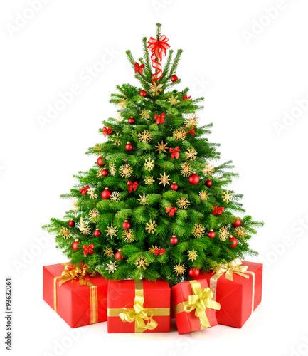 weihnachtsbaum mit strohsternen und geschenken. Black Bedroom Furniture Sets. Home Design Ideas