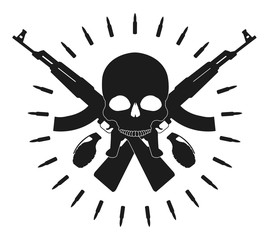 Skull with grenades and crossed assault rifles emblem. Black