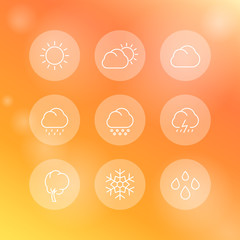 Weather, sunny, cloudy day, rain, hail, snow, wind, line round white icons, vector illustration