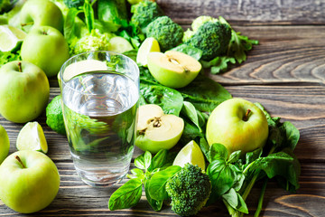 Green vegetables and water