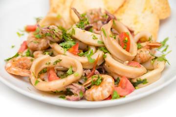 Dish of seafood stew