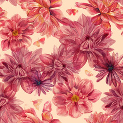 Watercolor dahlias and butterflies seamless background pattern,