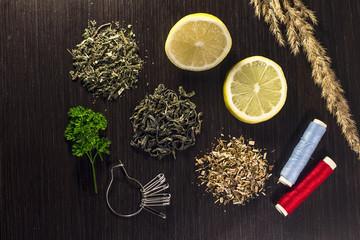 lemon, tea and sewing