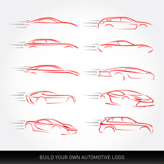 Car logotypes Silhouette - car service and repair, vector set. Car logo.